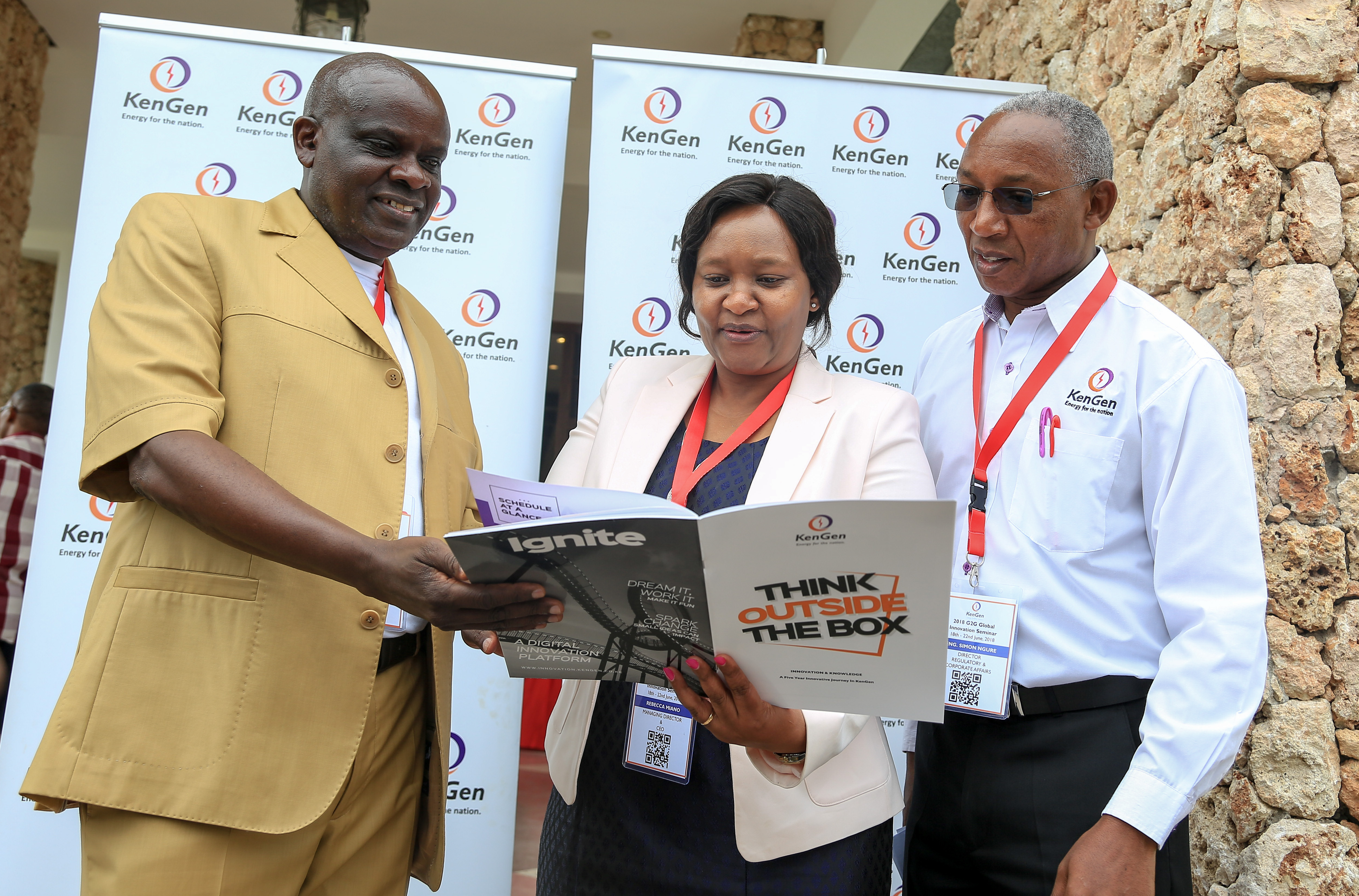 (Left to Right) KenGen Board of Directors Chairman, Joshua Choge, KenGen Managing Director, Rebecca Miano and KenGen's Regulatory and Corporate Affairs Director, Eng. Simon Ngure during the official opening of the firm's Global Innovation Summit in Mombasa.