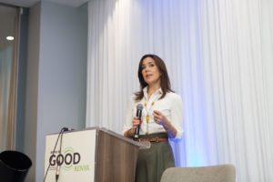 Her Royal Highness Crown Princess Mary of Denmark delivers her remarks at the launch of Deliver For Good in Kenya at Radisson Blu, Nairobi Kenya.