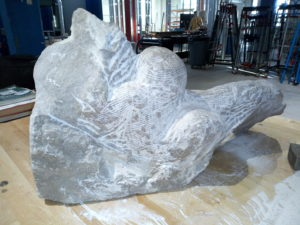 A stone sculpture at the Nebraska Innovation Studio. According to Hoppe, it will take three more months to achieve the desired results. PHOTO: LILIAN KAIVILU