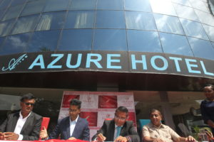 PrideInn Hotels Group Managing Director Mr. Hasnain Noorani together with Azure Hotel Managing Director Mr. Vishal Pindoria signs the handover contract. The hotel will be now be called PrideInn Azure.