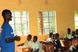 Martin Muriithi, a change Agent in Tharaka Nithi County addresses pupils at ACK Nkorongo Primary School in Chuka.