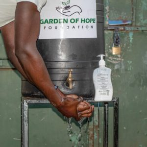 A hand washing station donated by Garden of Hope Foundation a non-profit organization in Kibera