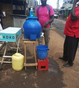 A hand washing station in Ayany-Kibera