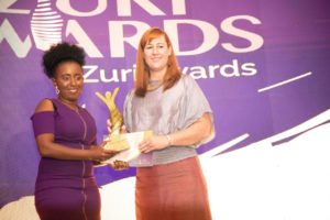Ruth Kaveke (left) received an ward during Zuri Awards held in March 2020