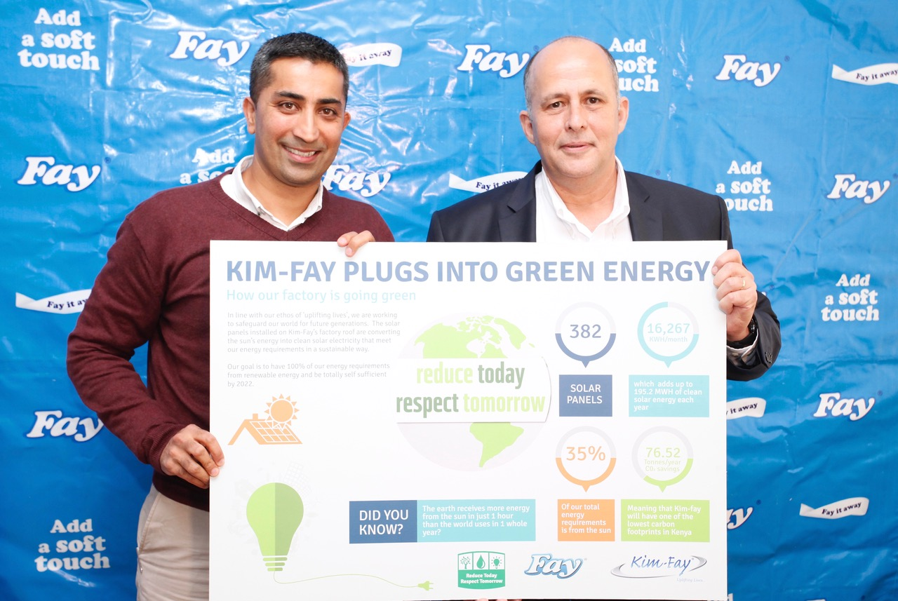 Raj Bains, Kim-Fay East Africa CEO receives commemorative plaque from Ron orlovsky CEO, Solar Power & Infrastructure upon successful installation of 382 Solar Panels on the factory's roof as part of their Clean Energy Initiative dubbed Reduce Today Respect Tomorrow.