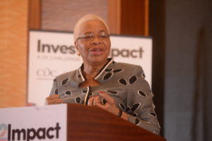 H.E. Graca Machel speaks at the launch of Inves2Impact a business competition that provides access to funding to help develop women-led initiatives in East Africa.