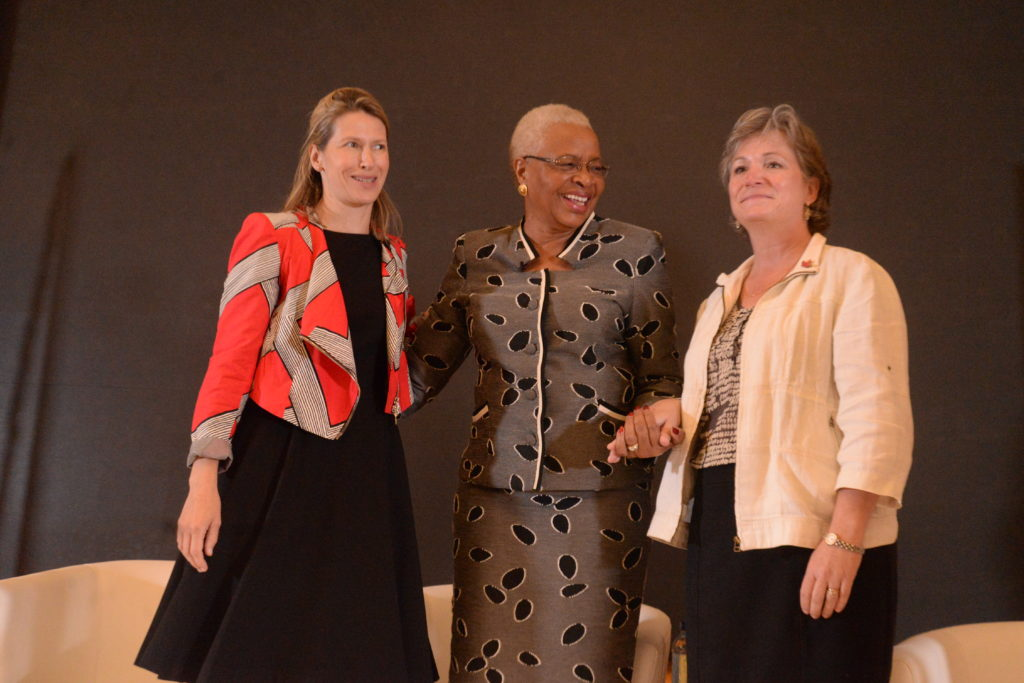 FinDev Canada Director, Stephanie Emond, H.E. Graca Machel and Canadian High Commissioner, Lisa Stadelbauer at the launch of Inves2Impact a business competition. That provides access to funding to help develop women-led initiatives in East Africa.
