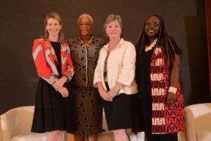 FinDev Canada Director, Stephanie Emond, H.E. Graca Machel and Canadian High Commissioner, Lisa Stadelbauer and Graca Machel Trust, Investments Director, Andia Chakava at the launch of Inves2Impact a business competition. That provides access to funding to help develop women-led initiatives in East Africa.