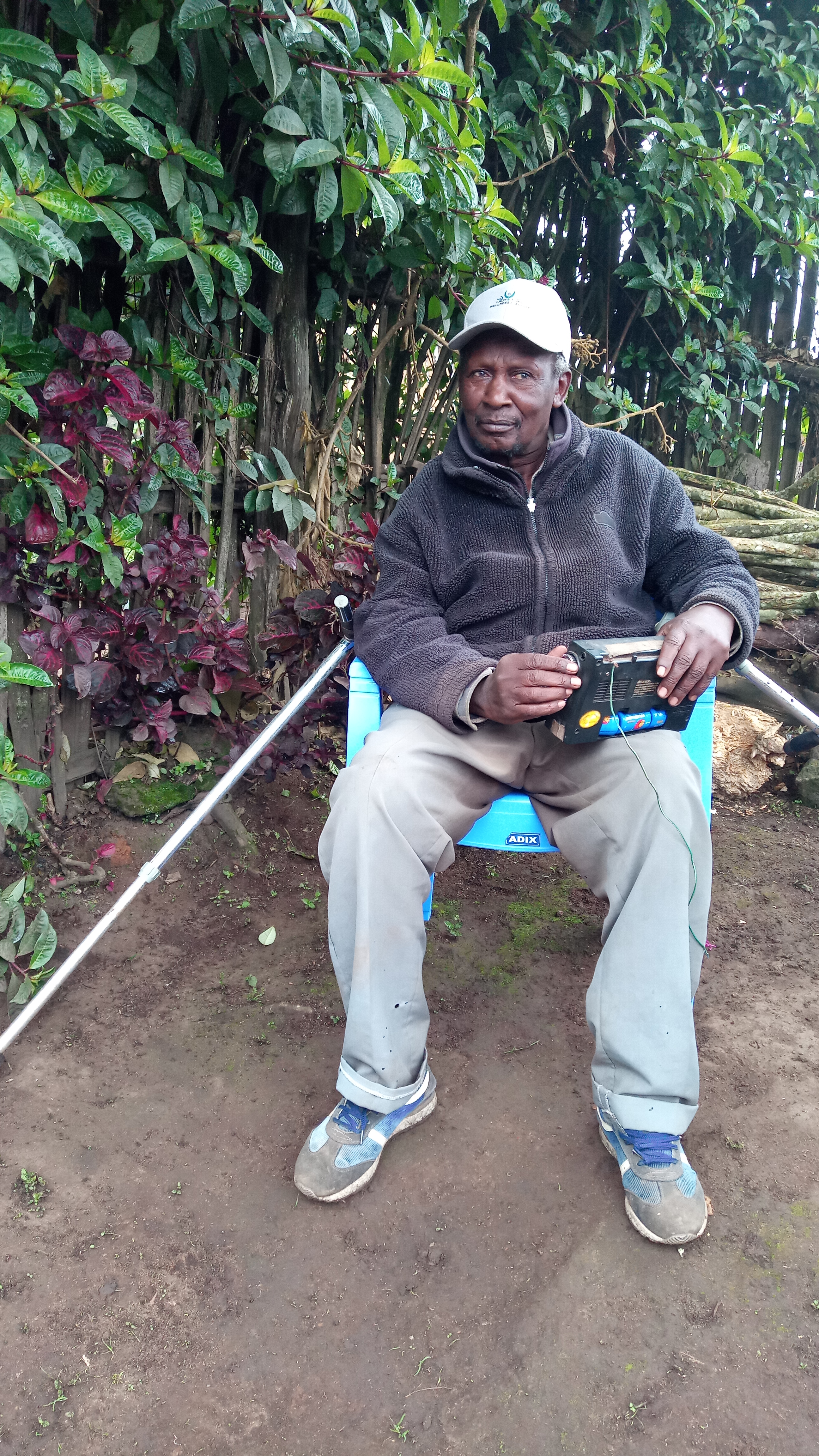 Stanley Chege at his home in Kinangop, Nyandarua County last week. He has recovered from cancer and now uses crutches to walk