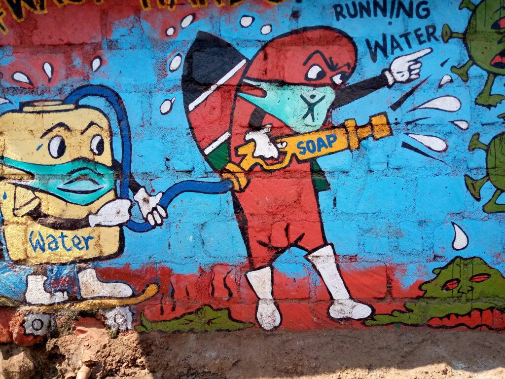 A section of the graffiti done by Maasai Mbili Youth Group. PHOTO/JUDY NDUNGE/IMPACTHUB MEDIA