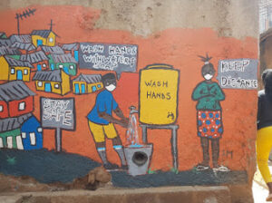 An art piece by maasai mbili to emphasize the need of washing hands