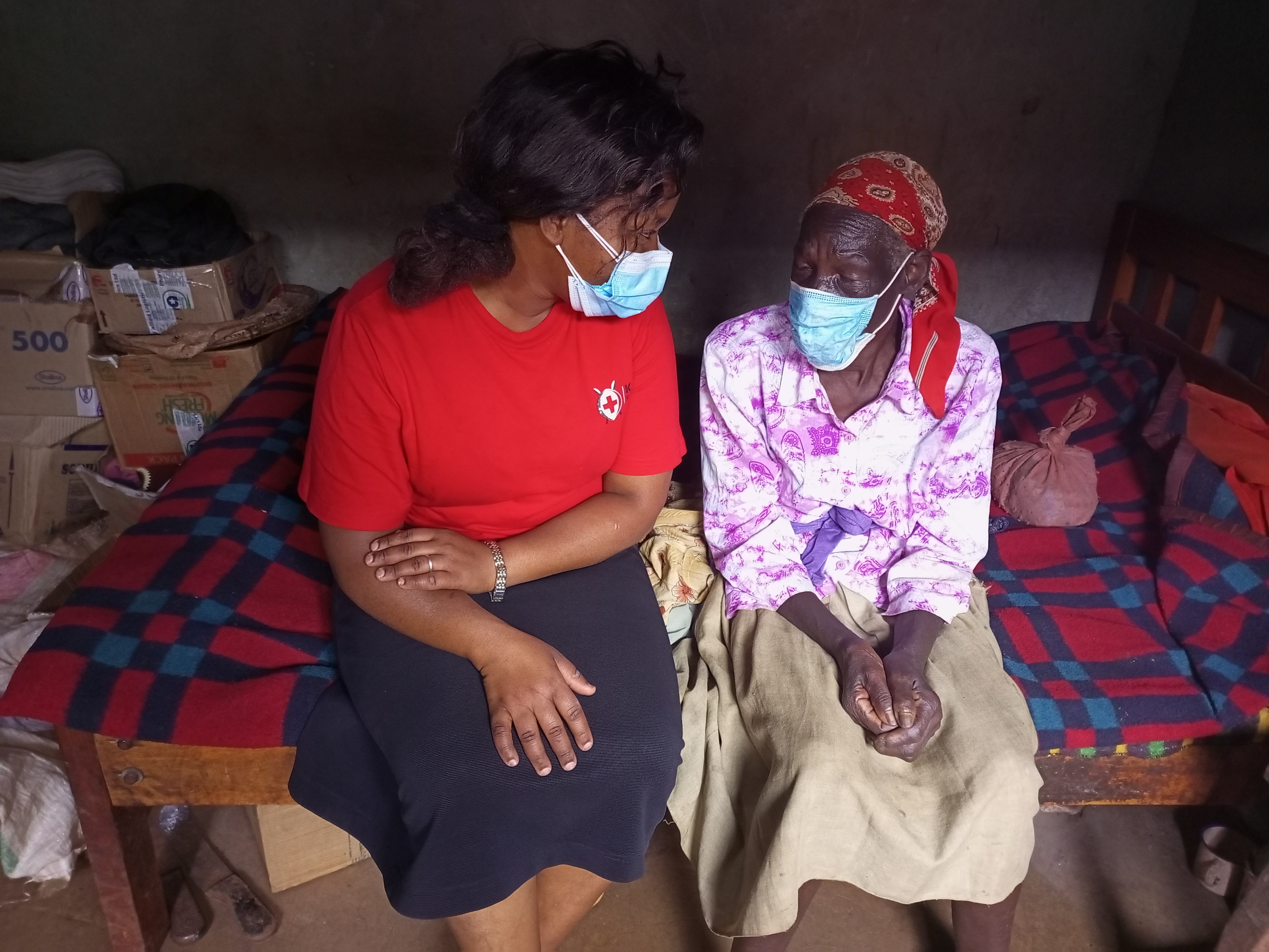 Joyce Mumbi (left) with Josphine Wanja when she paid her a visit in Kambirwa where she has rented a room for her.